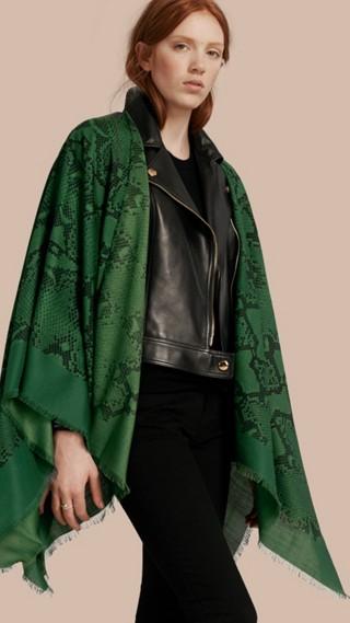 Lightweight Python Print Wool Cashmere Silk Poncho