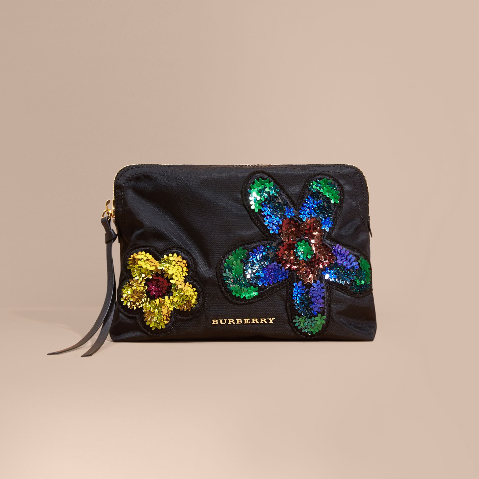 Black Large Zip-top Floral Embellished Pouch - gallery image 8