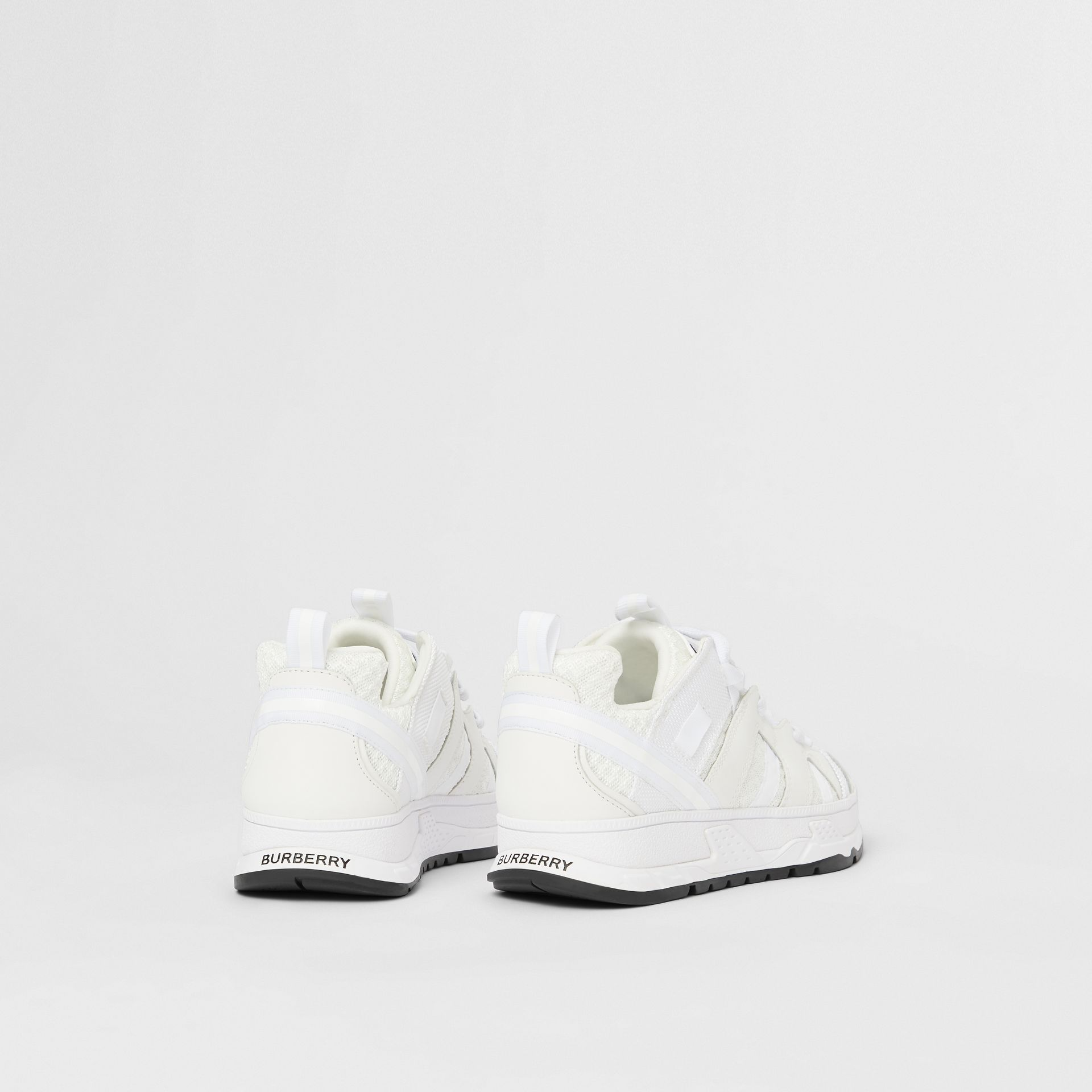 Mesh and Nubuck Union Sneakers in Optic White - Children | Burberry - gallery image 2