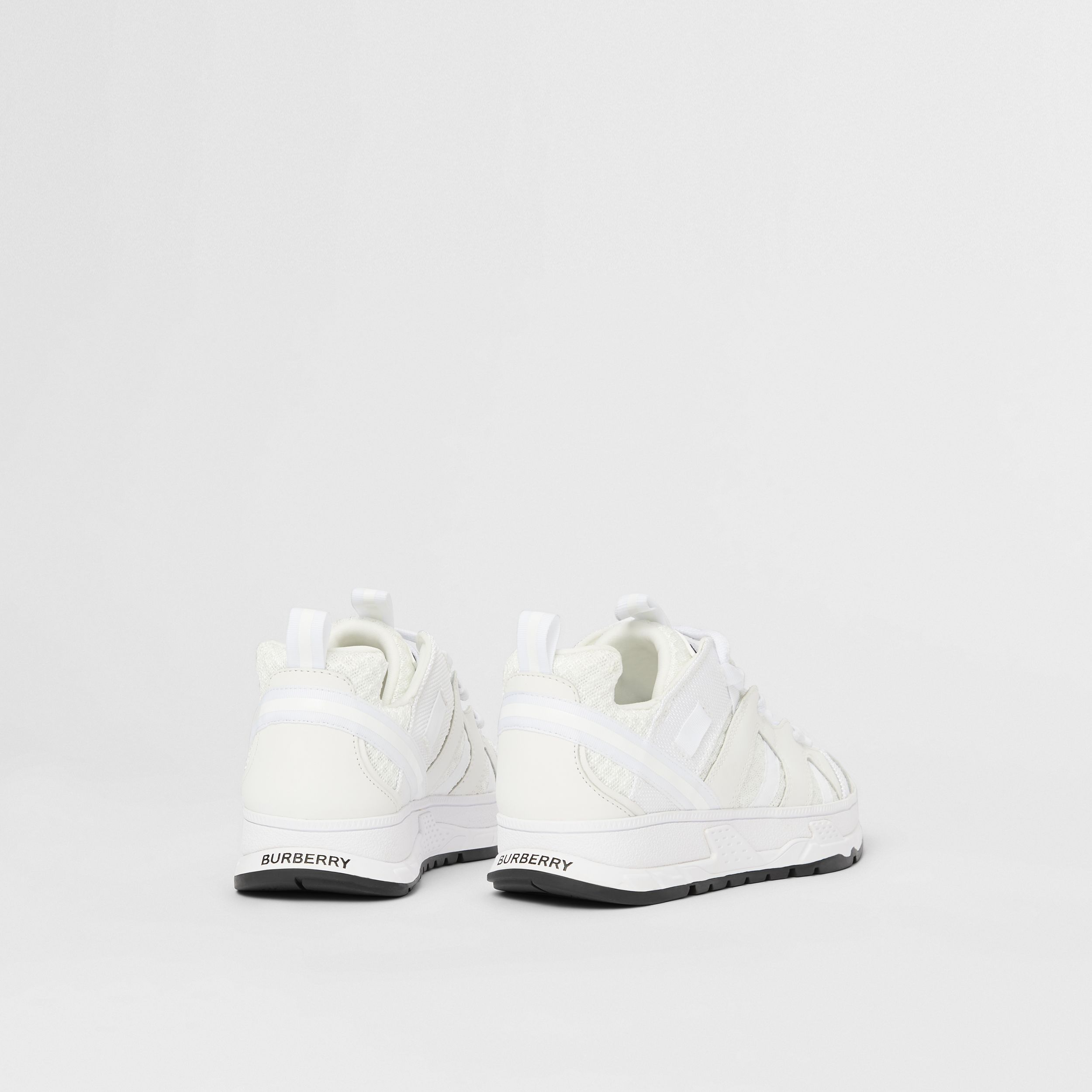 Mesh and Nubuck Union Sneakers in Optic White - Children | Burberry - 3