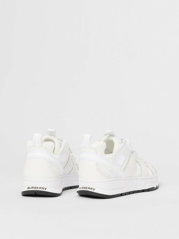 Mesh and Nubuck Union Sneakers in Optic White - Children | Burberry - cell image 2
