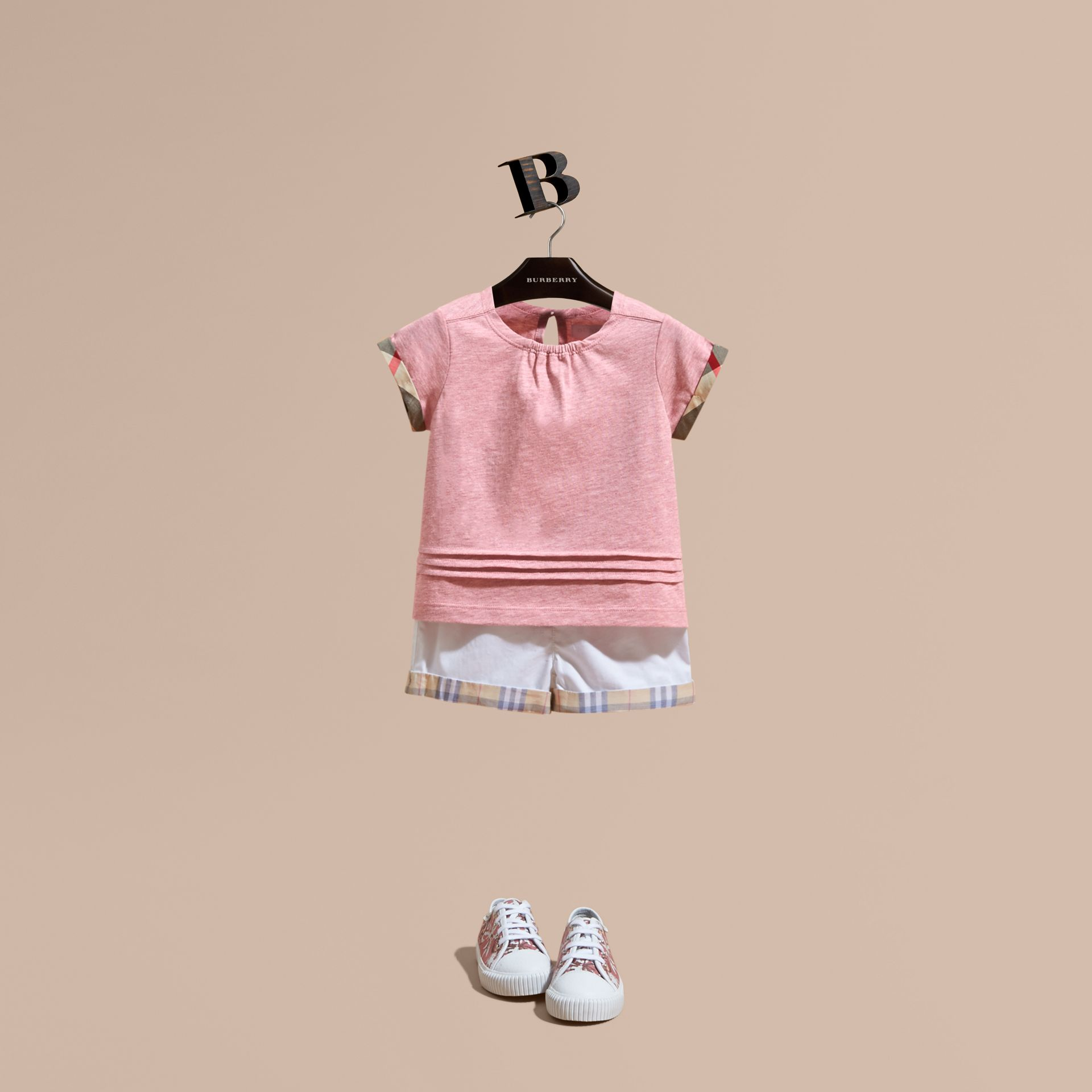 Check Trim Cotton T-shirt Light Copper Pink Melange - gallery image 1