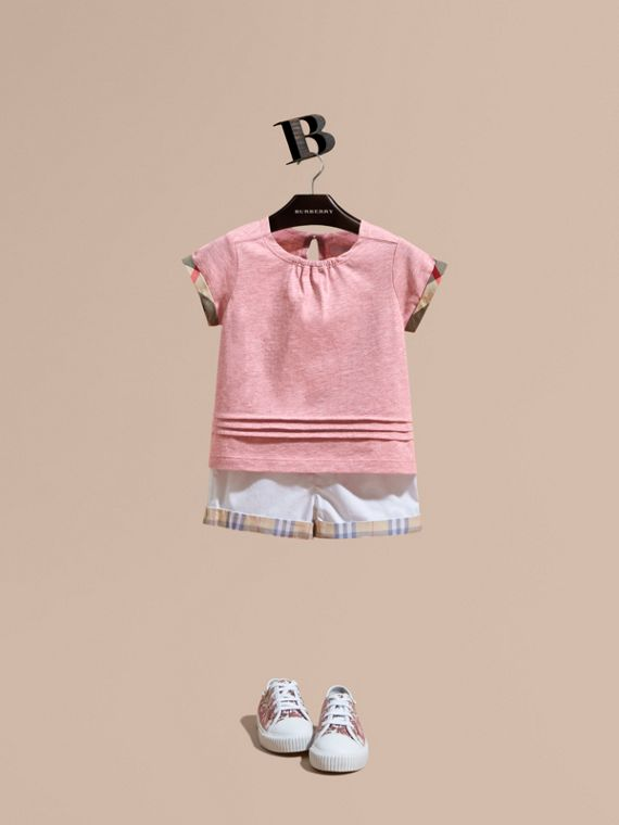 Pleat and Check Detail Cotton T-shirt in Light Copper Pink Melange | Burberry