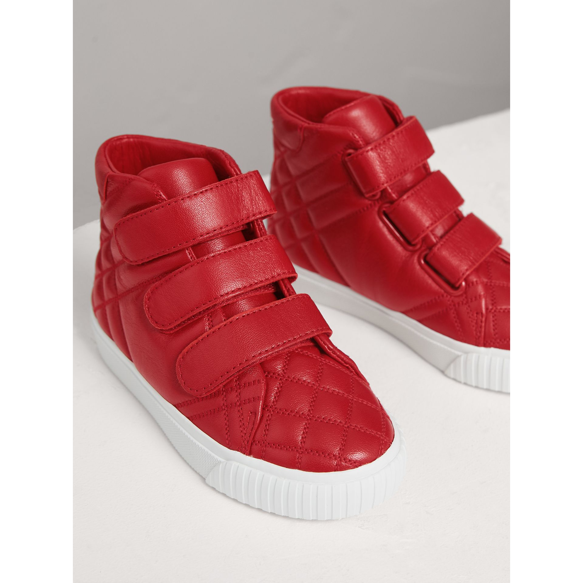 Quilted Leather High-top Trainers in Parade Red | Burberry - gallery image 4