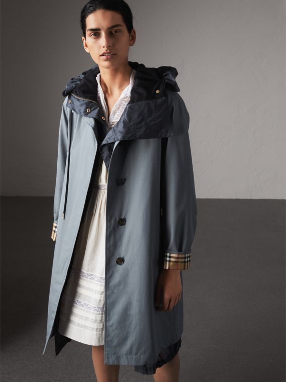The Camden ヨ Long Car Coat in Dusty Blue