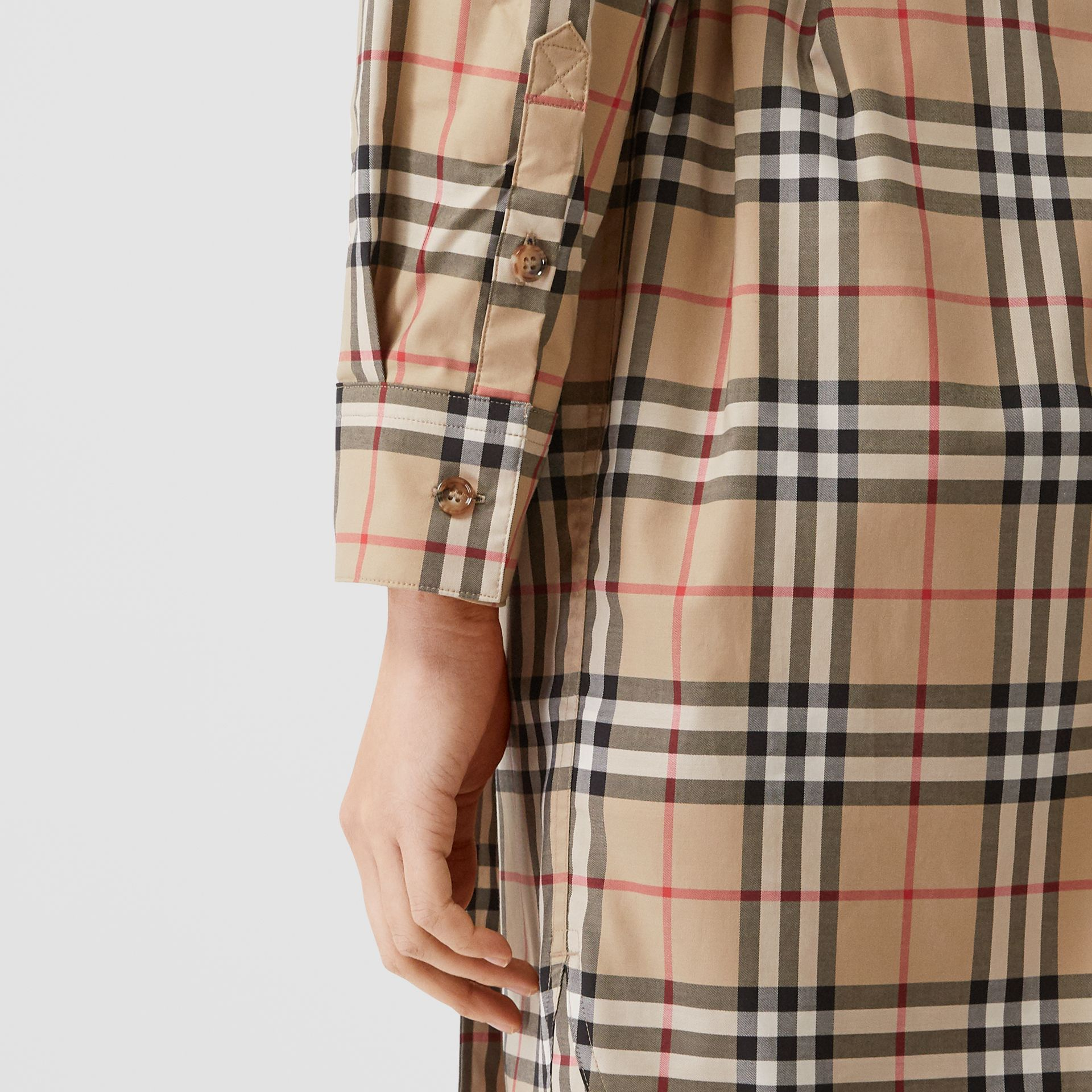 Vintage Check Stretch Cotton Tie-waist Shirt Dress in Archive Beige - Women | Burberry - gallery image 1