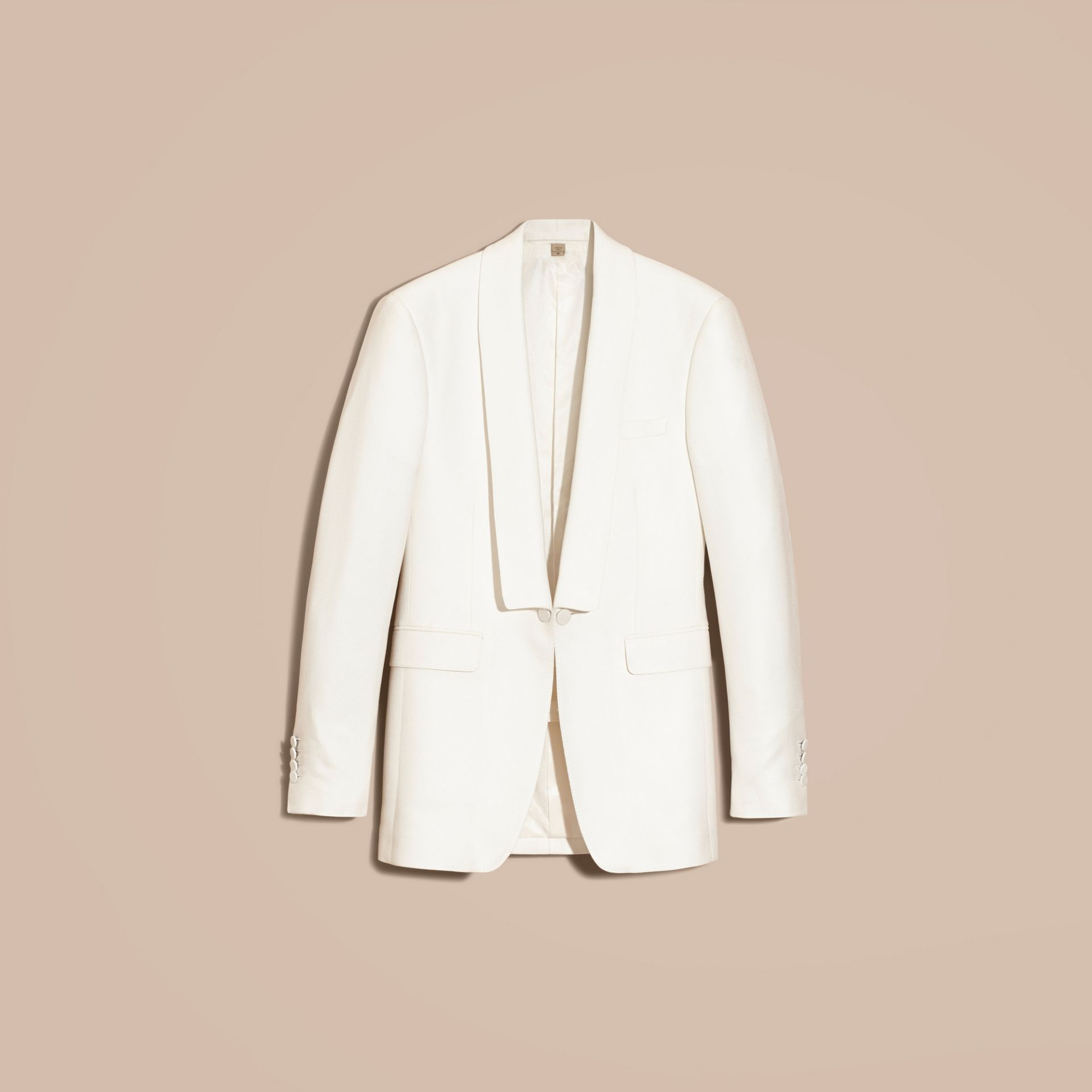 Natural white Slim Fit Cotton Silk Half-canvas Tuxedo Jacket - gallery image 4