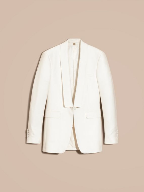 Natural white Slim Fit Cotton Silk Half-canvas Tuxedo Jacket - cell image 3