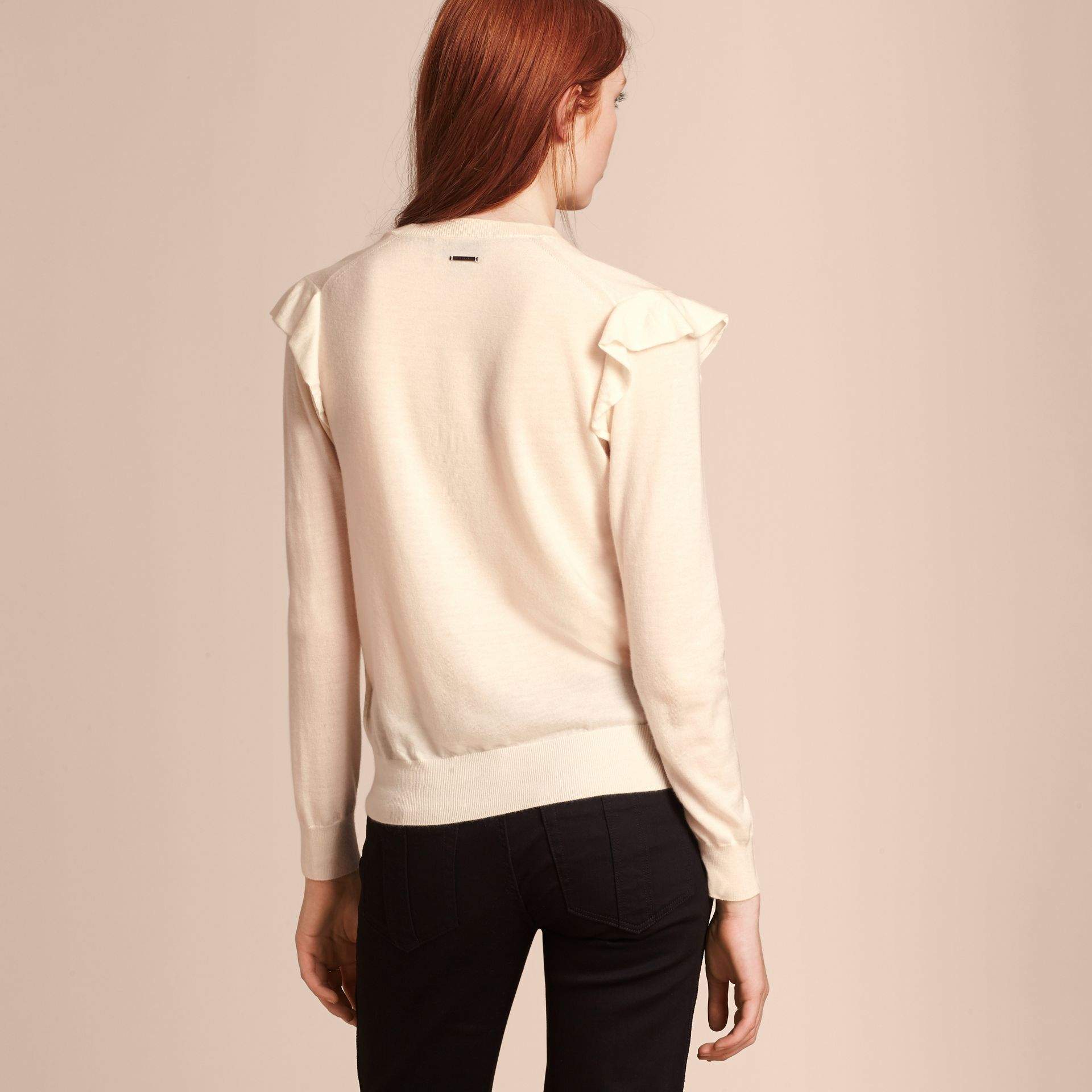 Natural white Cashmere Sweater with Frill Sleeves Natural White - gallery image 3