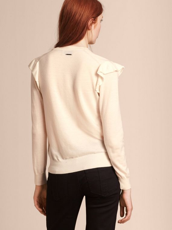 Cashmere Sweater with Frill Sleeves in Natural White - Women | Burberry - cell image 2