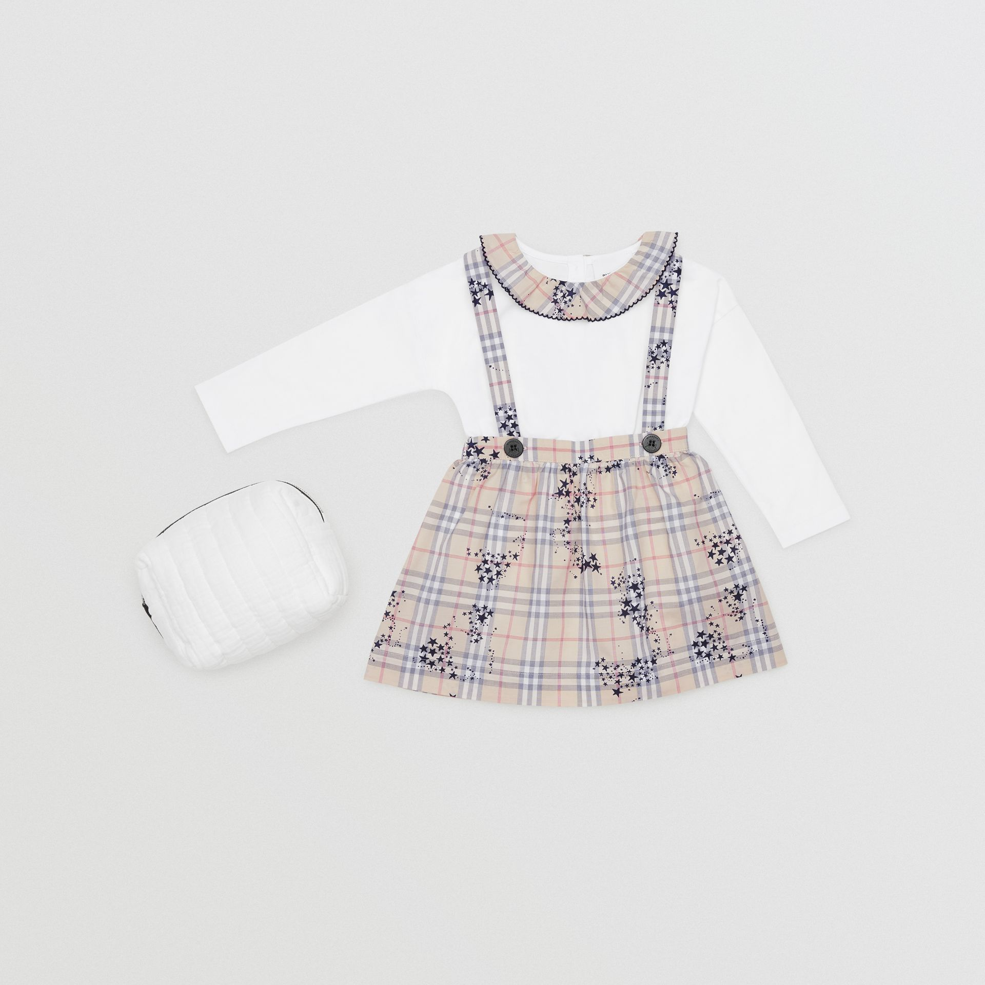 Star Print Check Cotton Two-piece Baby Gift Set in Bright Navy - Children | Burberry Australia - gallery image 0