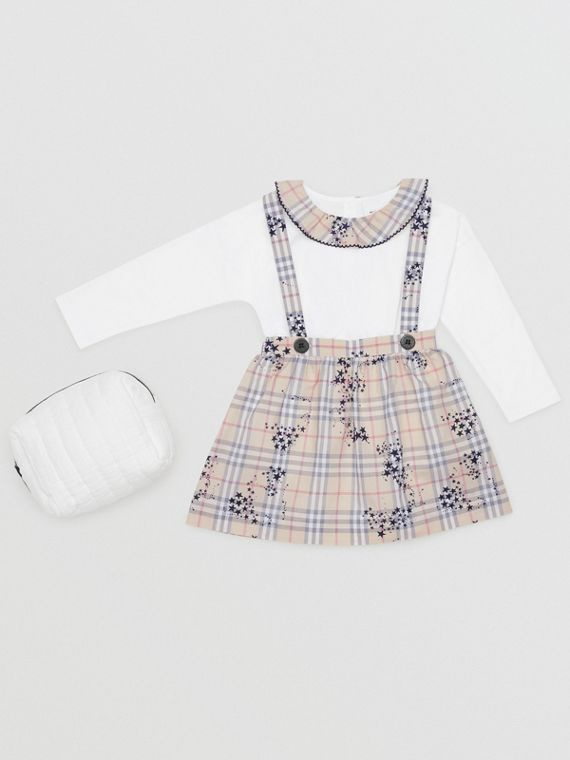 Star Print Check Cotton Two-piece Baby Gift Set in Bright Navy