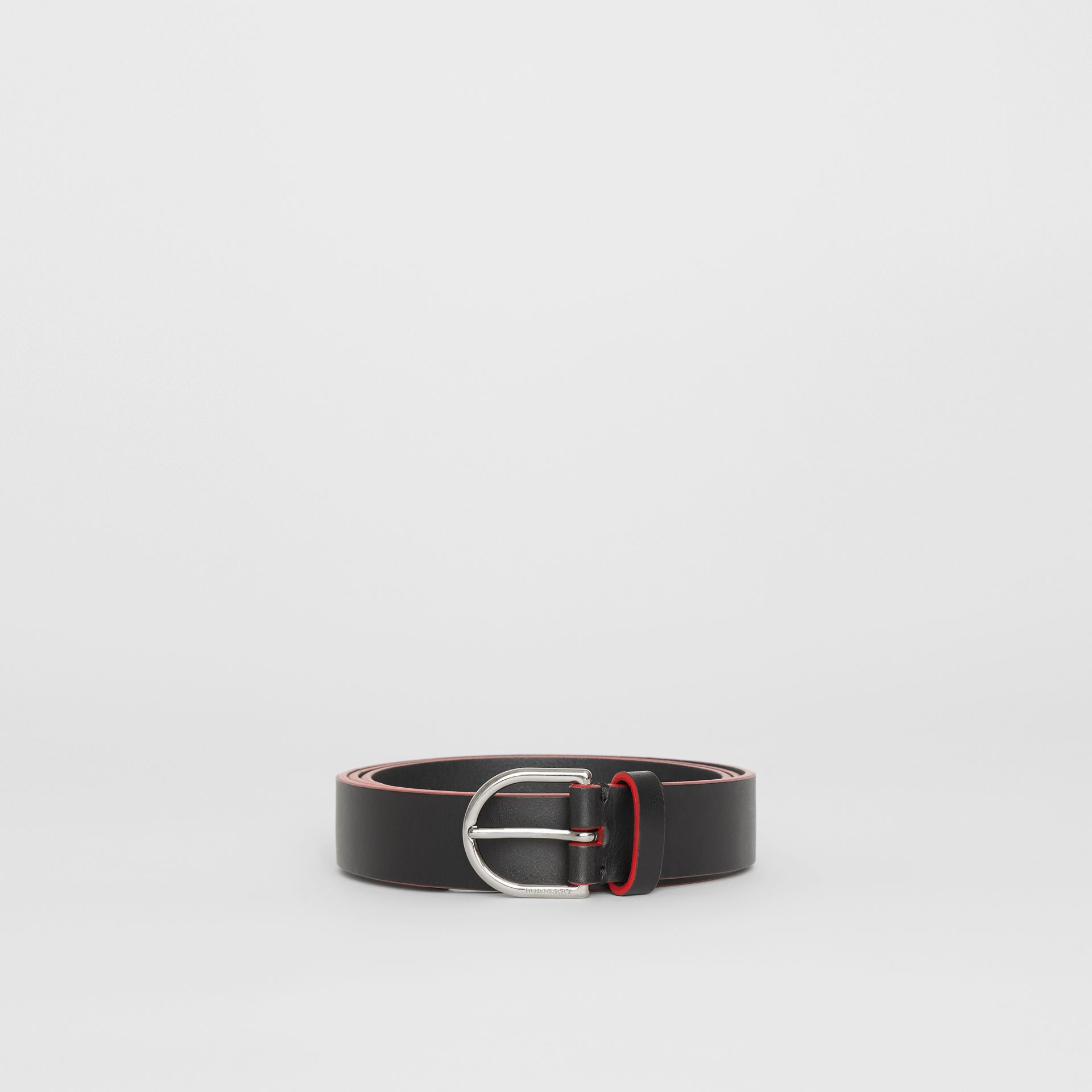 Contrast Edge Leather D-ring Belt in Black/red - Men | Burberry United States - gallery image 3