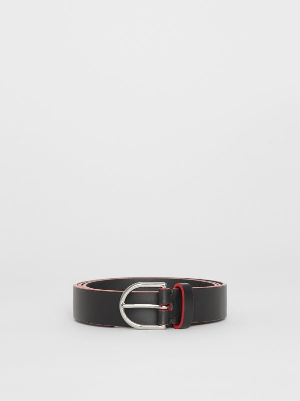 Contrast Edge Leather D-ring Belt in Black/red - Men | Burberry United States - cell image 3