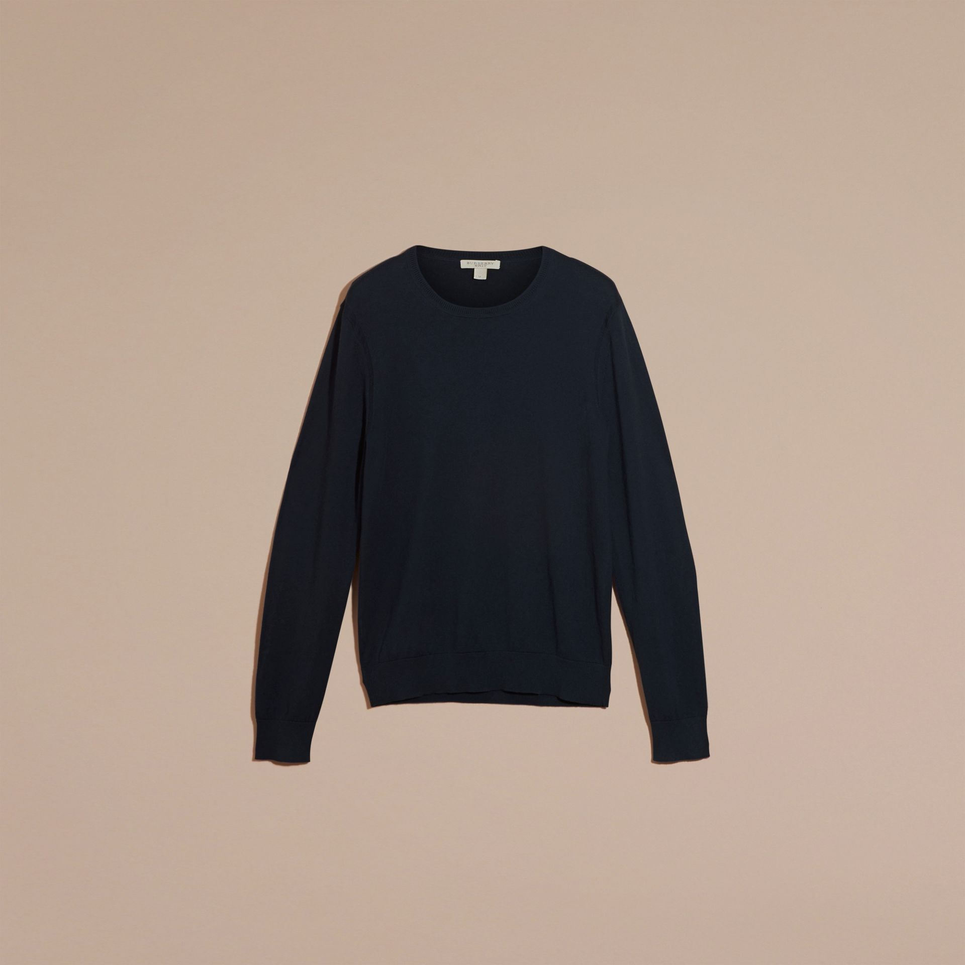 Check Trim Cashmere Cotton Sweater Navy - gallery image 4