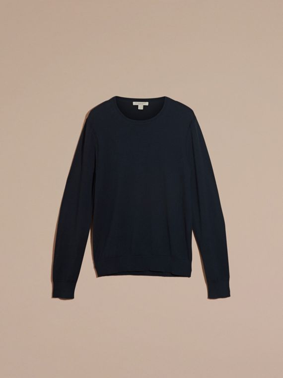 Check Trim Cashmere Cotton Sweater Navy - cell image 3