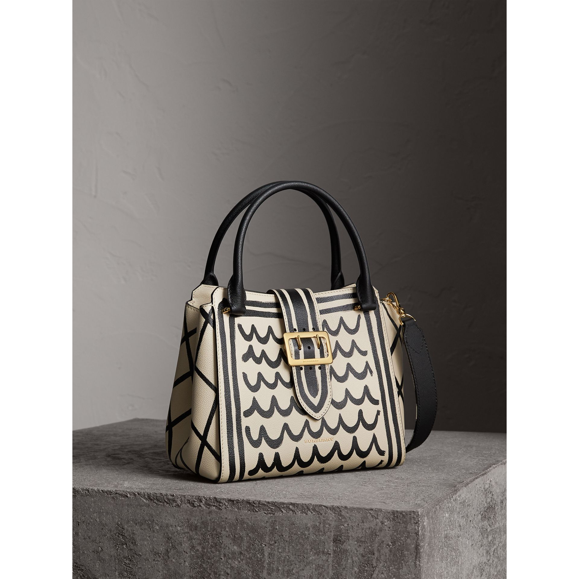 The Medium Buckle Tote in Trompe L'oeil Print Leather in Limestone - Women | Burberry - gallery image 8