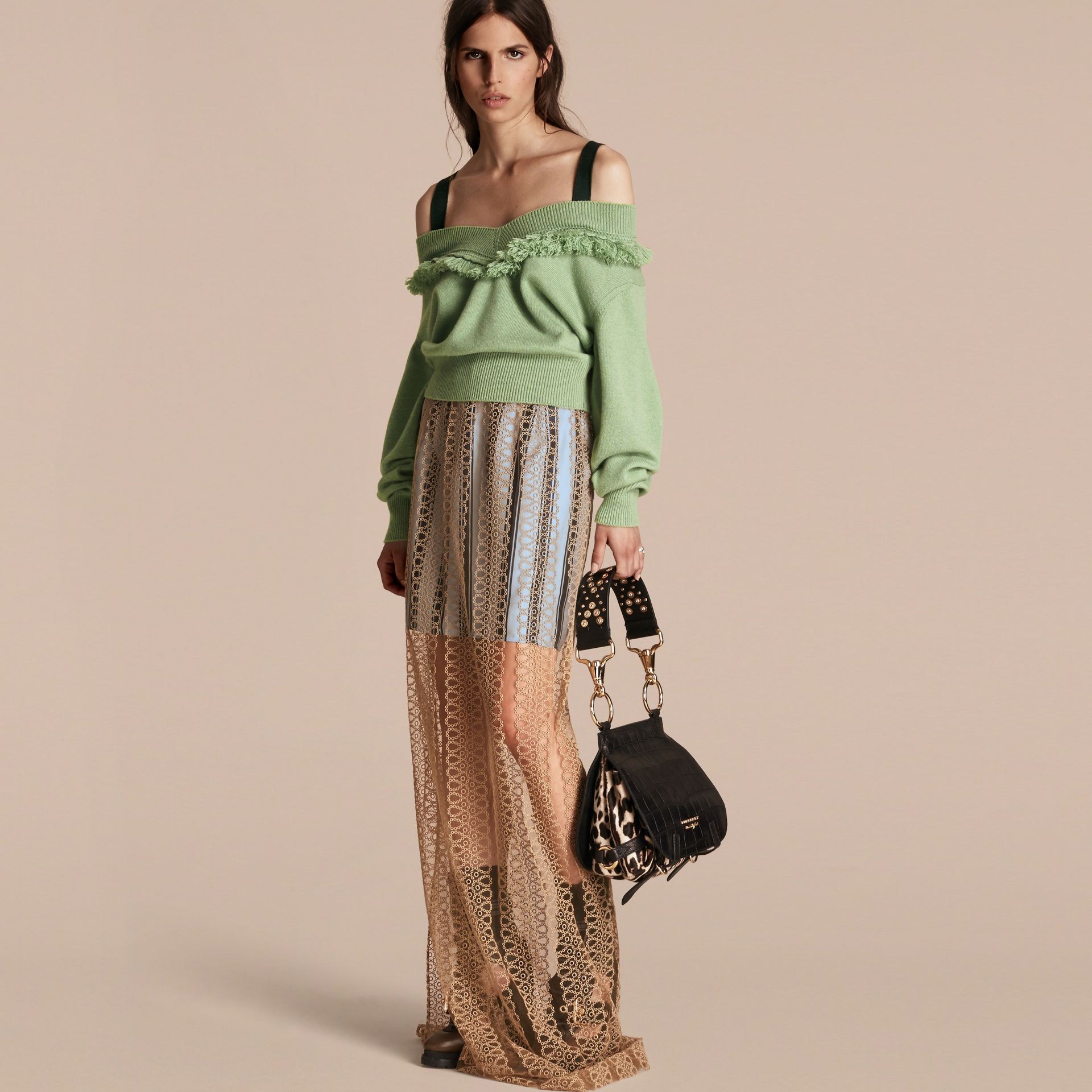 Braided Tulle Column Skirt with Striped Lining in Bright Toffee - gallery image 6