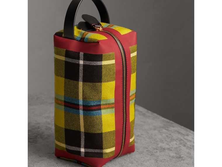 Tartan Cotton Pouch in Ochre Yellow | Burberry - cell image 4