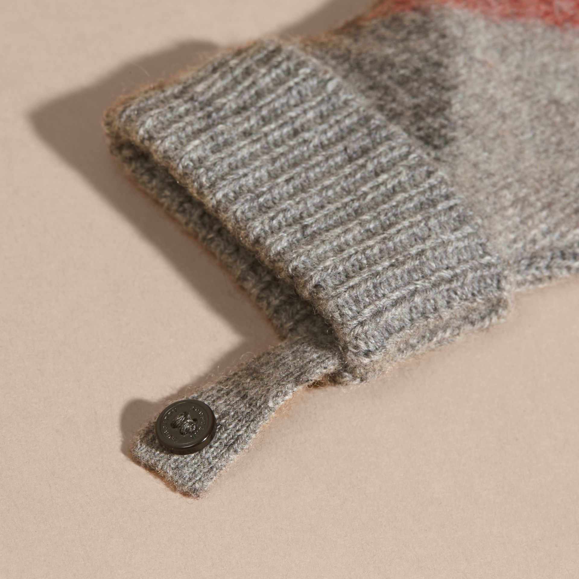 Light grey melange Check Wool and Cashmere Mittens - gallery image 2