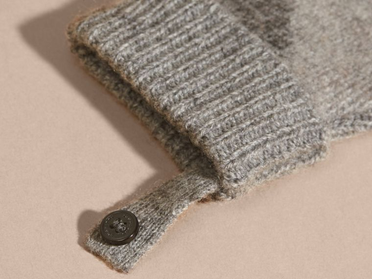 Light grey melange Check Wool and Cashmere Mittens - cell image 1
