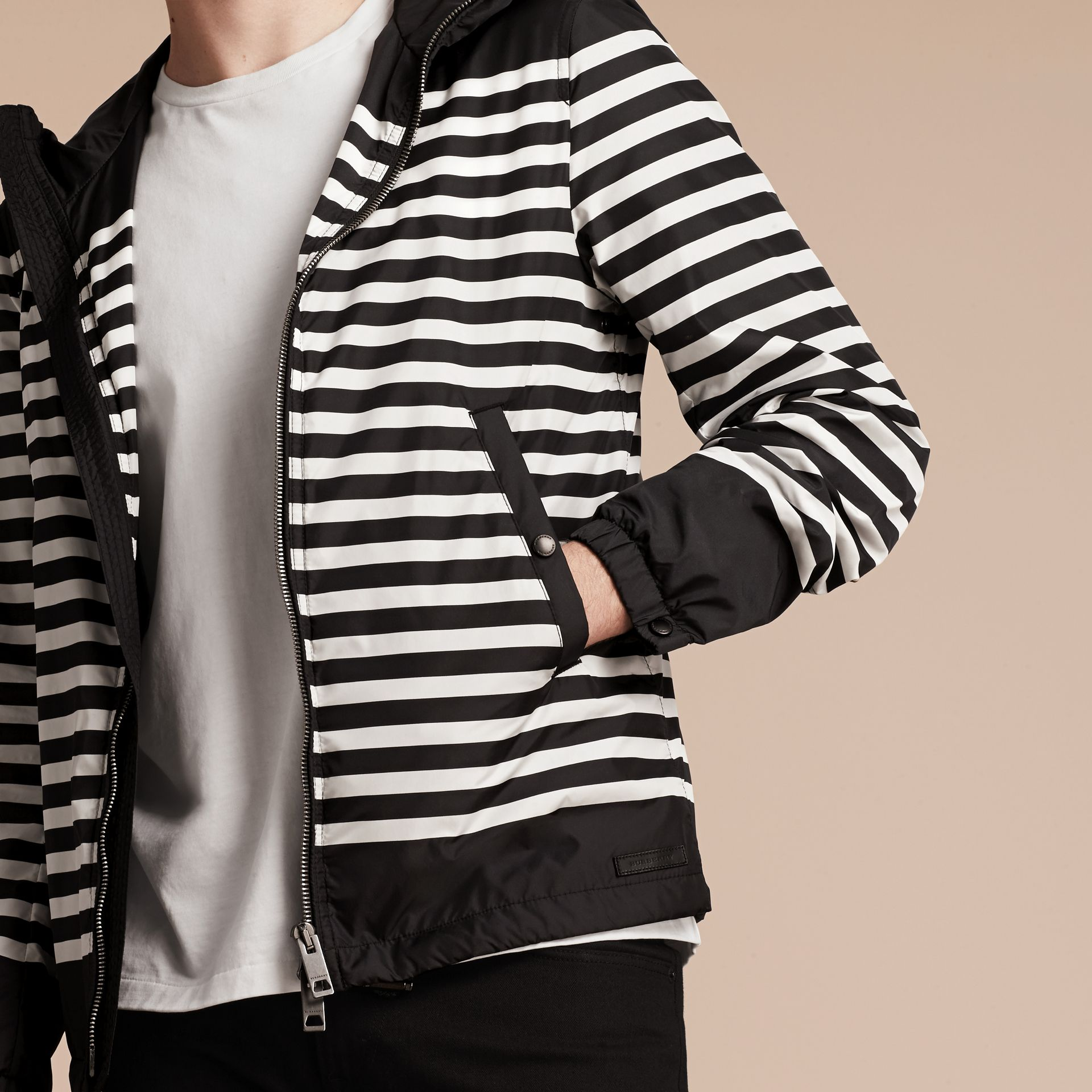 Black/white Striped Hooded Jacket - gallery image 4