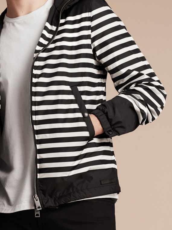 Black/white Striped Hooded Jacket - cell image 3