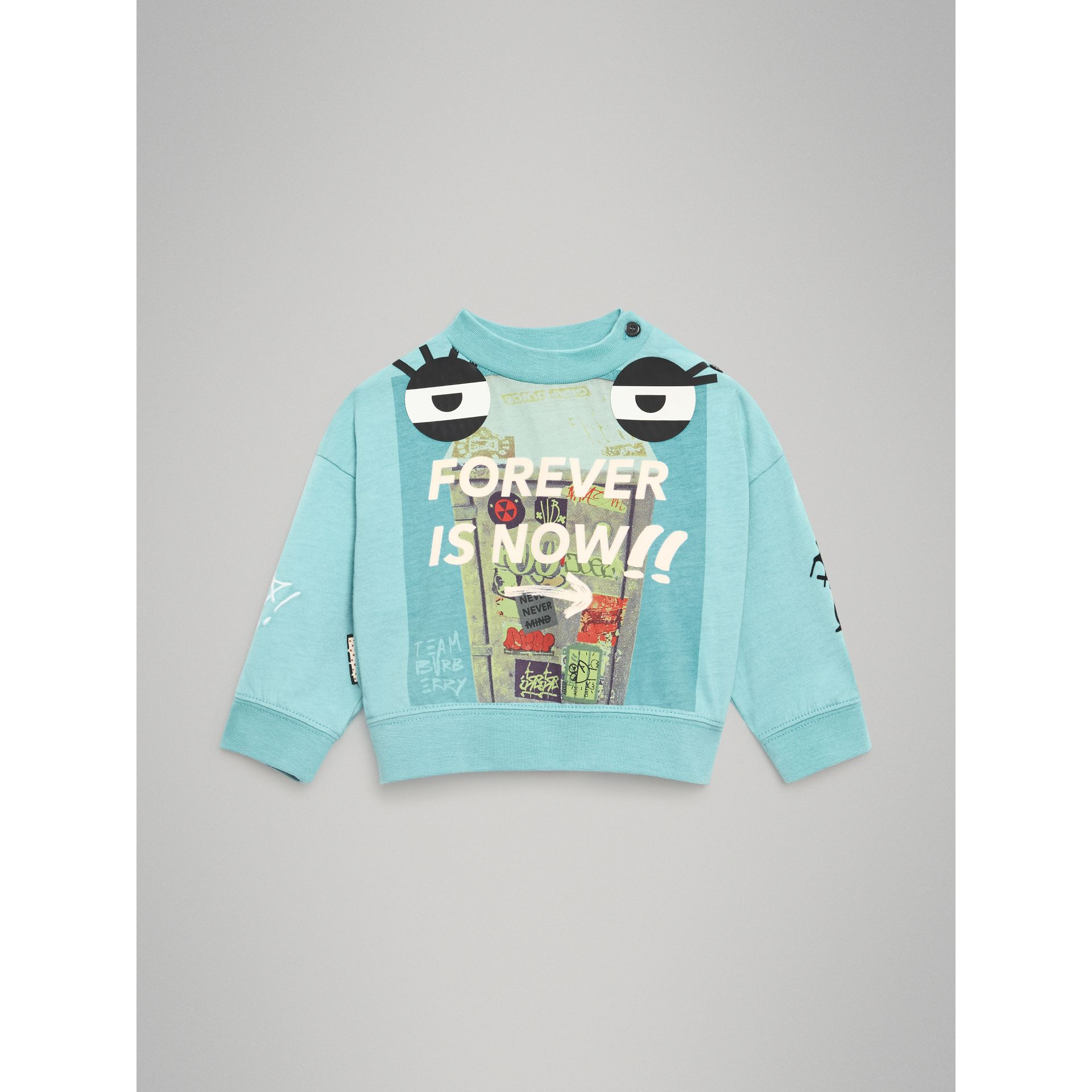 Forever is Now Print Cotton Sweatshirt in Turquoise - Children | Burberry United Kingdom - gallery image 0
