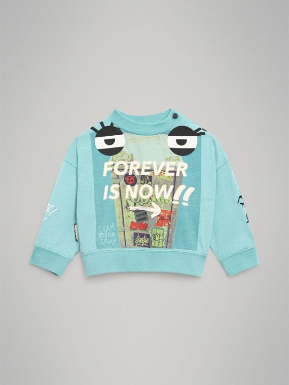 Forever is Now Print Cotton Sweatshirt in Turquoise