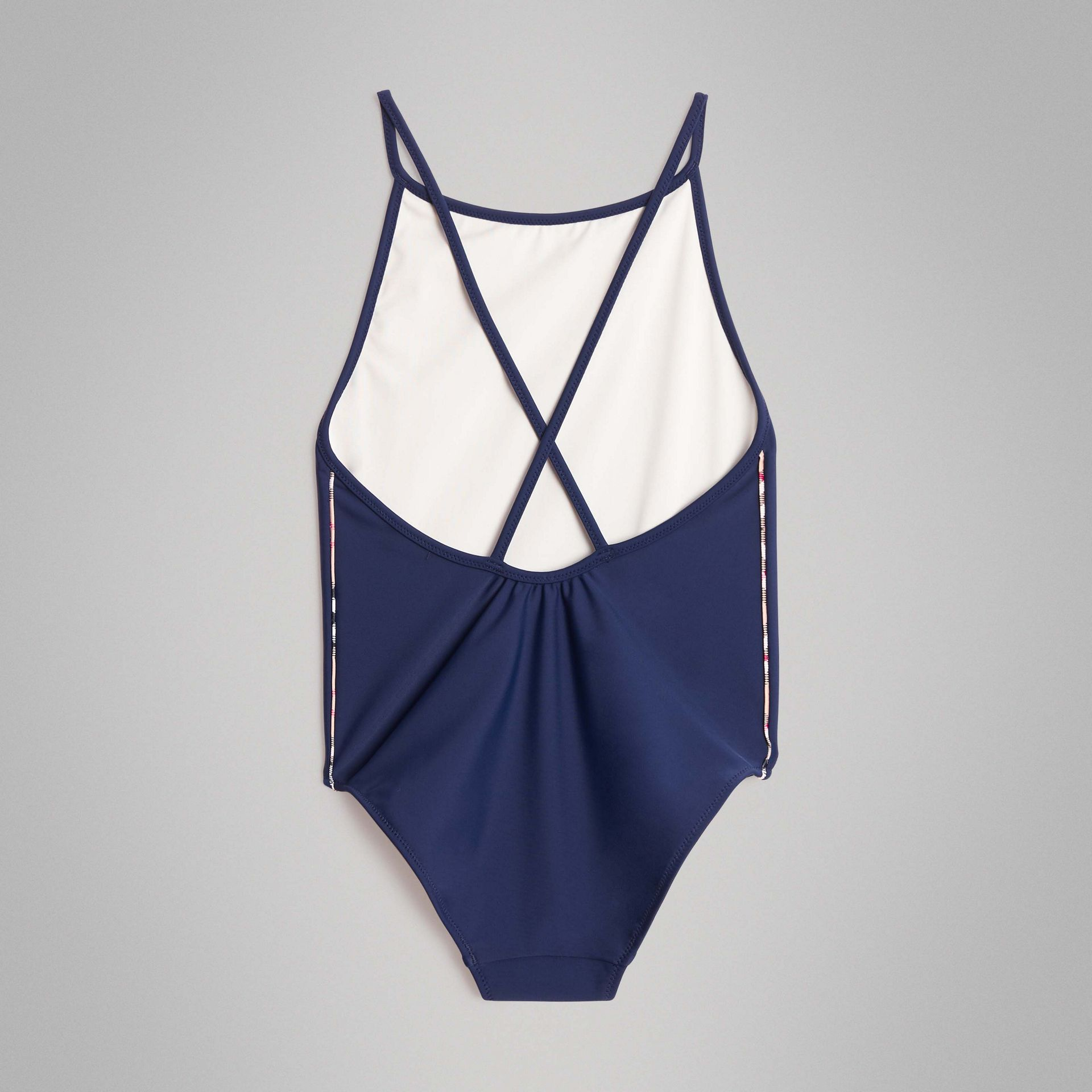 Check Detail One-piece Swimsuit in Navy - Girl | Burberry United Kingdom - gallery image 3