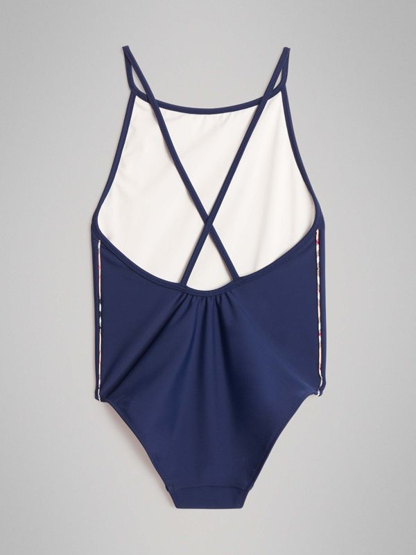 Check Detail One-piece Swimsuit in Navy - Girl | Burberry United Kingdom - cell image 3