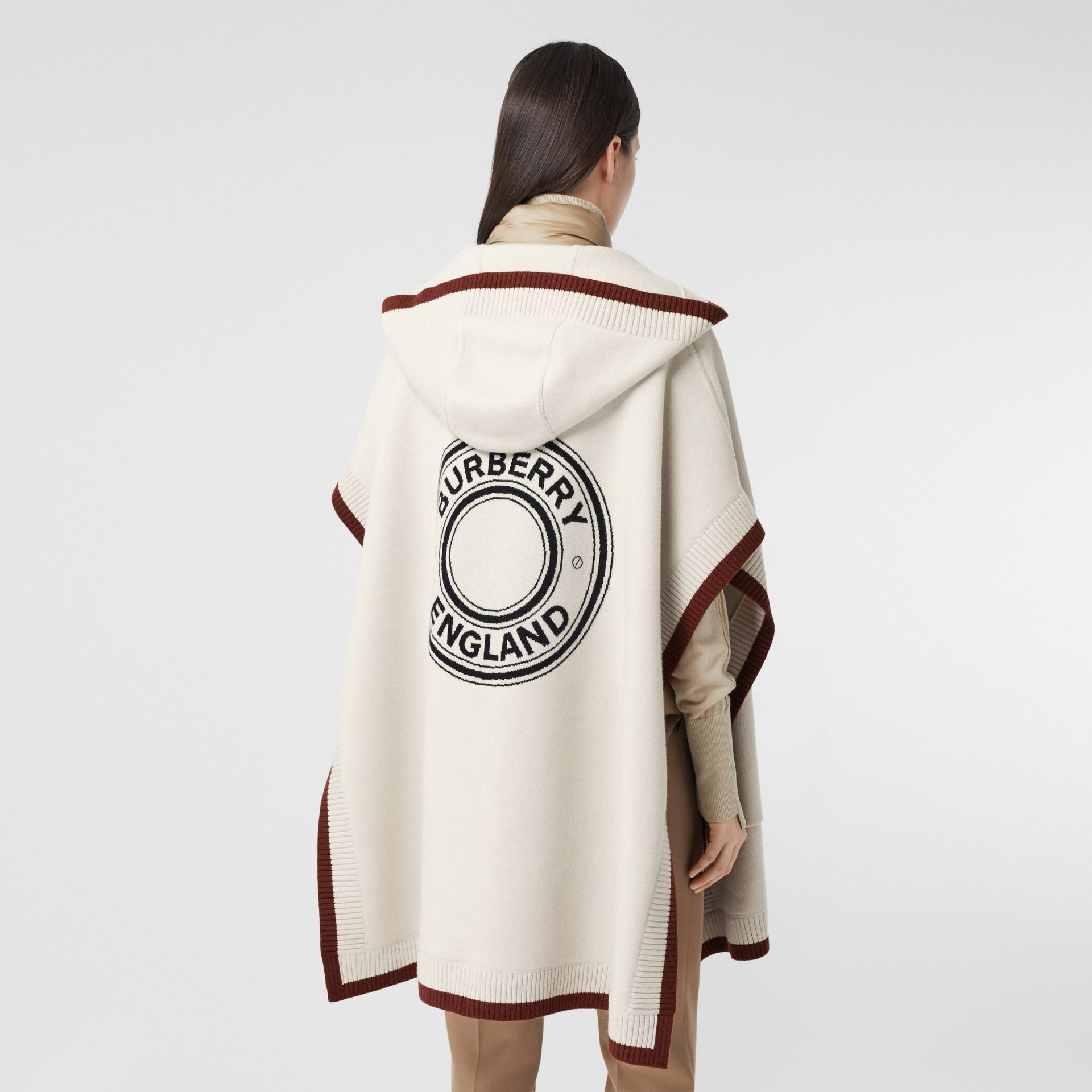 Logo Graphic Wool Cashmere Jacquard Hooded Cape in Canvas - Women | Burberry - gallery image 5