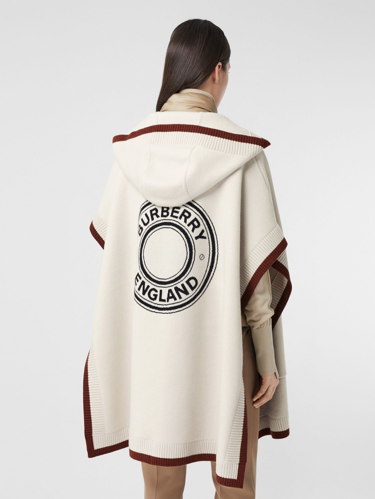 Logo Graphic Wool Cashmere Jacquard Hooded Cape in Canvas