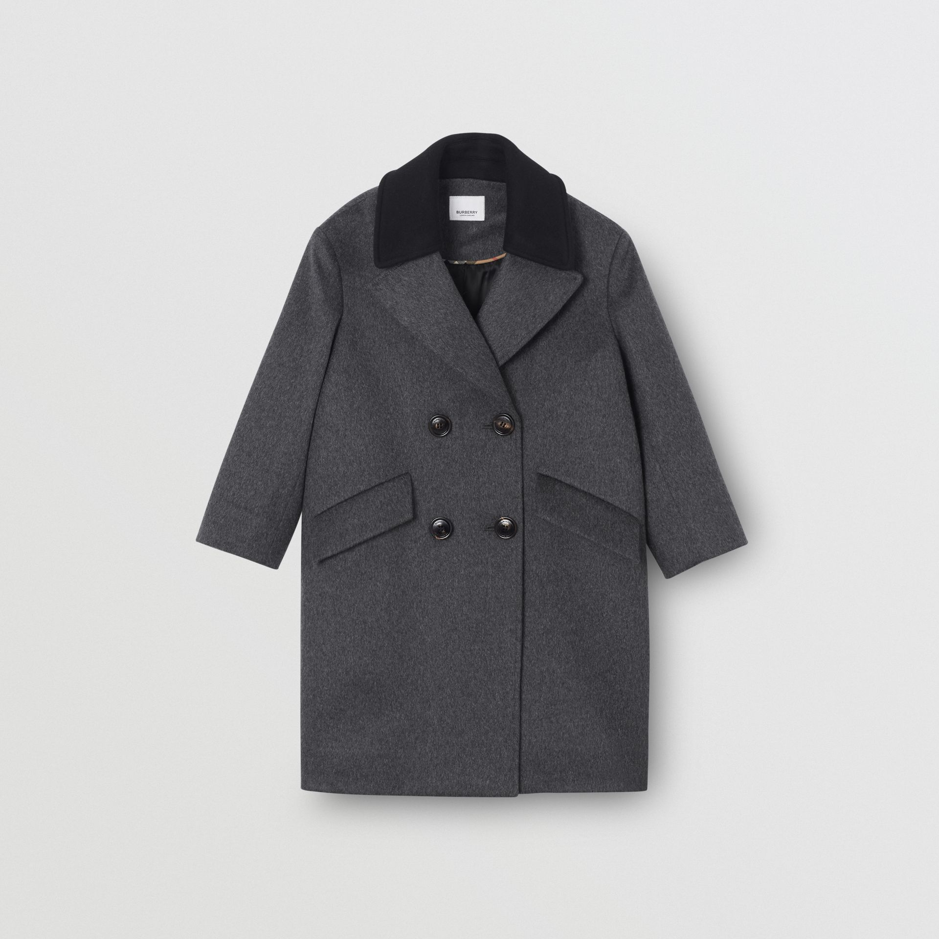 Contrast Collar Cashmere Tailored Coat in Grey Melange | Burberry - gallery image 0