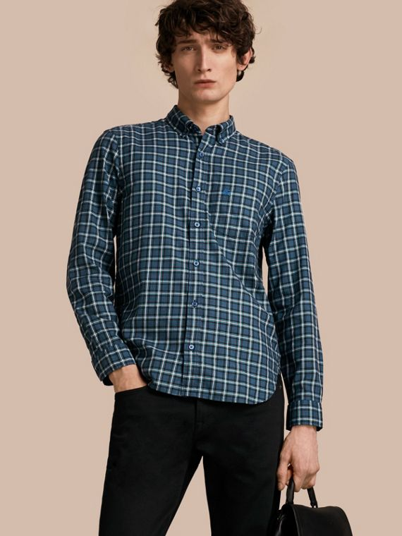 Tartan Cotton Twill Shirt Bright Navy