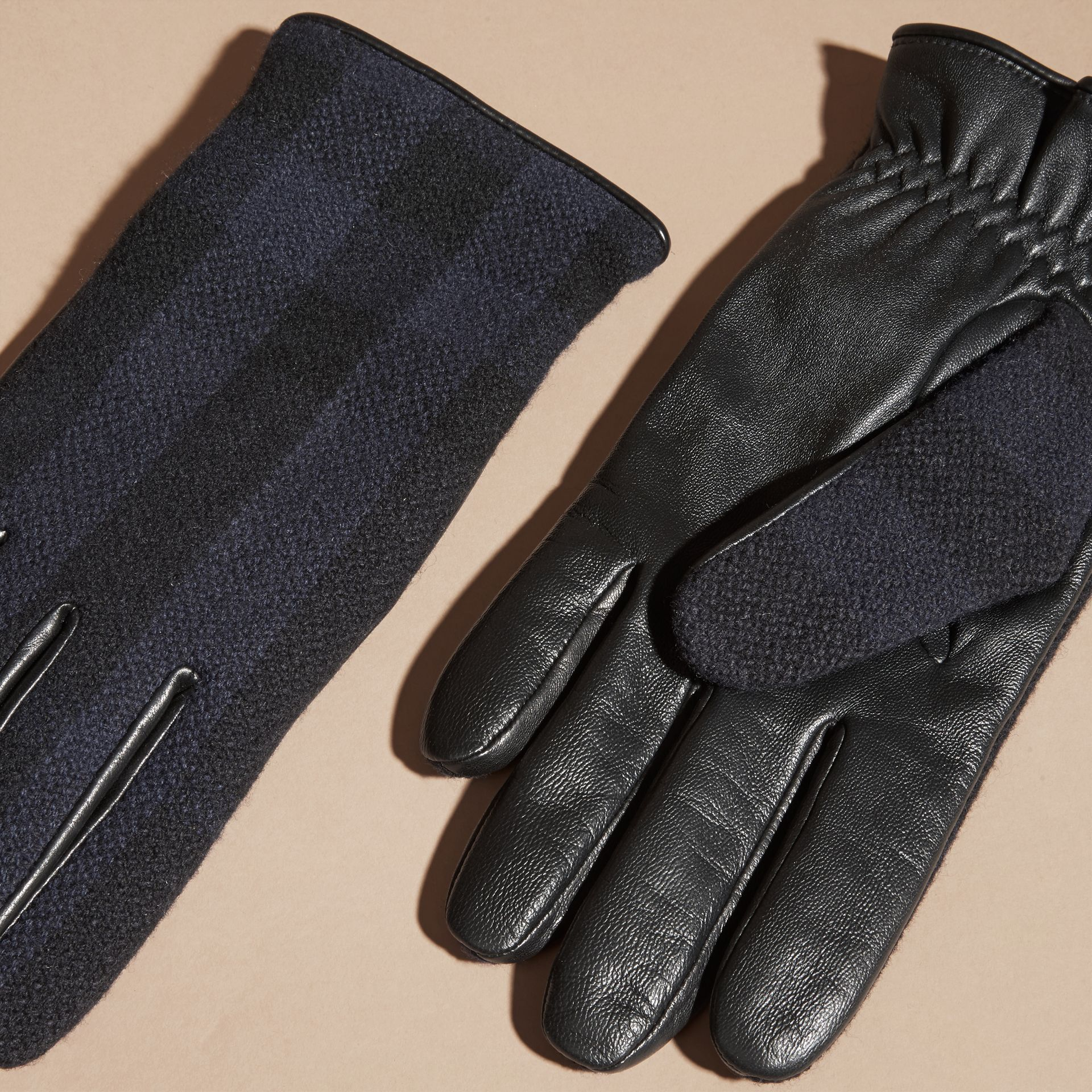 Check Wool and Leather Touch Screen Gloves in Navy - Men | Burberry - gallery image 3