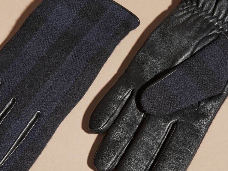 Check Wool and Leather Touch Screen Gloves in Navy - Men | Burberry - cell image 2