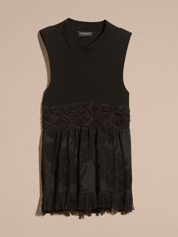Black Panelled Cashmere and Floral Jacquard Top - cell image 3