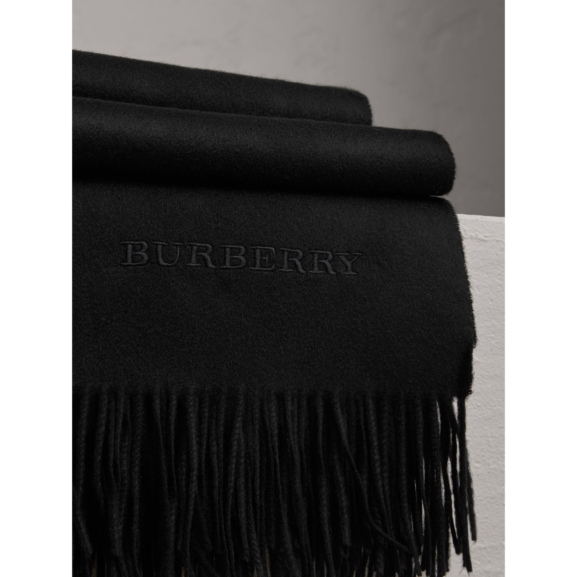 Cashmere Blanket in Black | Burberry Australia - gallery image 1