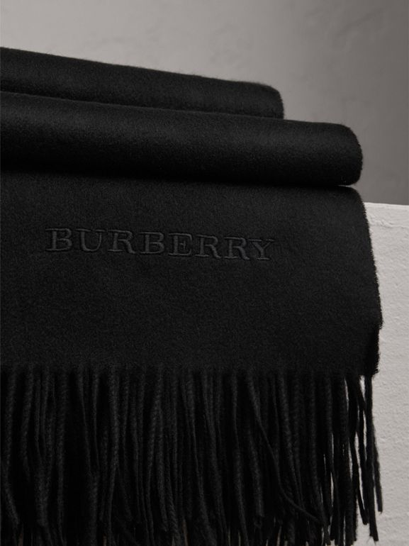 Cashmere Blanket in Black | Burberry United States - cell image 1
