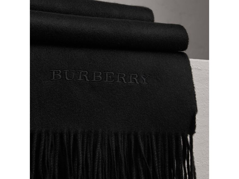 Cashmere Blanket in Black | Burberry Australia - cell image 1