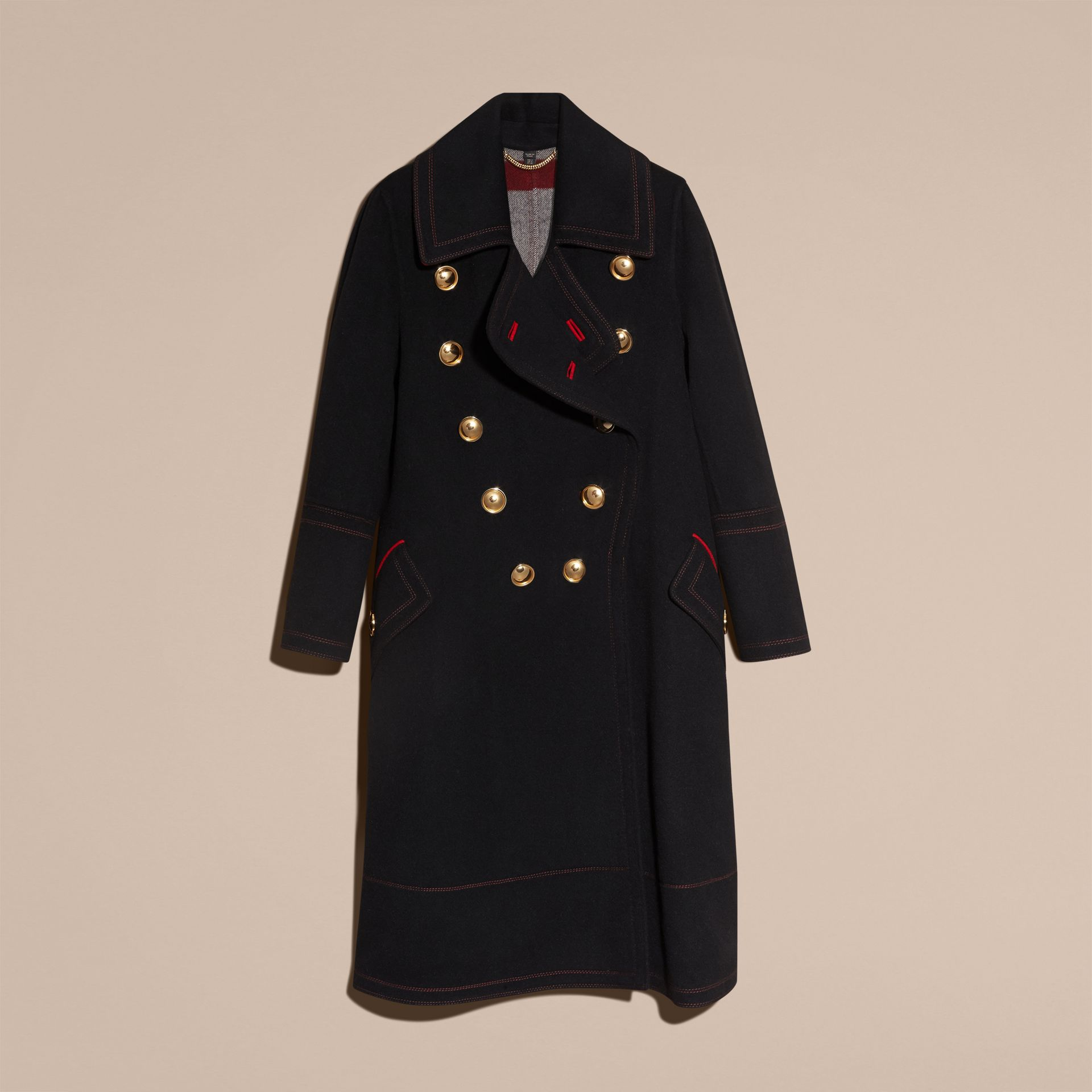 Black Double-breasted Wool Cashmere Military Coat - gallery image 4