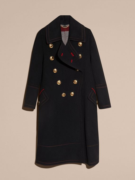 Black Double-breasted Wool Cashmere Military Coat - cell image 3