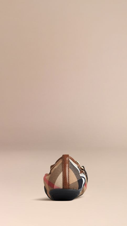 Dark tan Buckle Detail House Check Ballerinas - Image 4