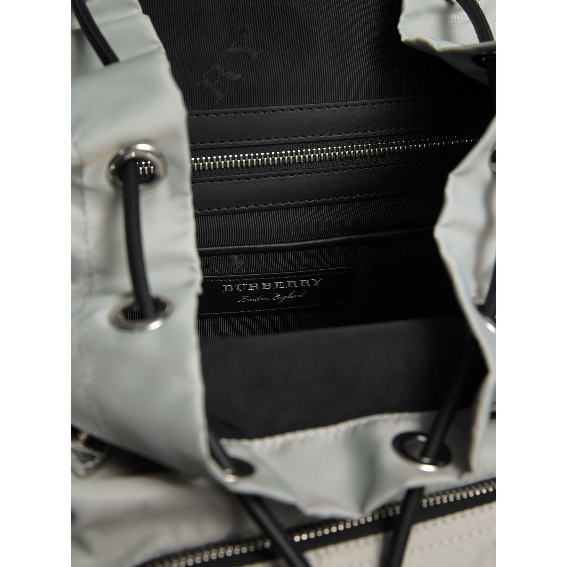 The Large Rucksack in Technical Nylon and Leather in Pale Stone/silver - Women | Burberry Australia - gallery image 6