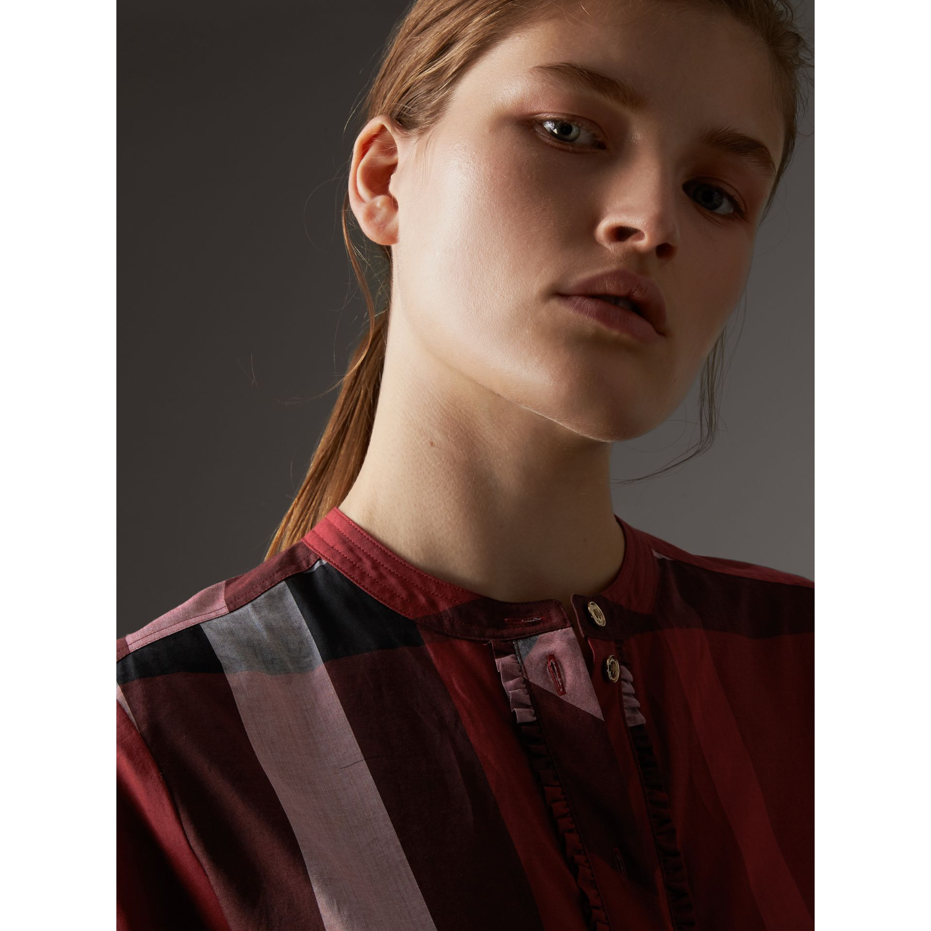 Check Grandad Collar Shirt in Carmine Red - Women | Burberry Singapore - gallery image 2