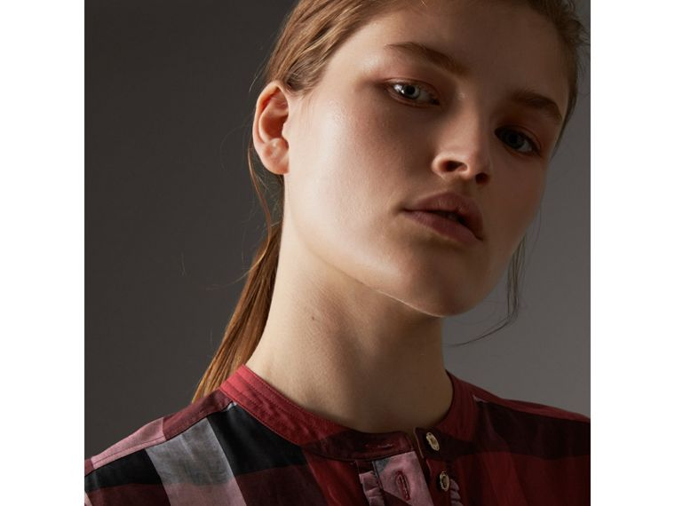 Check Grandad Collar Shirt in Carmine Red - Women | Burberry - cell image 1