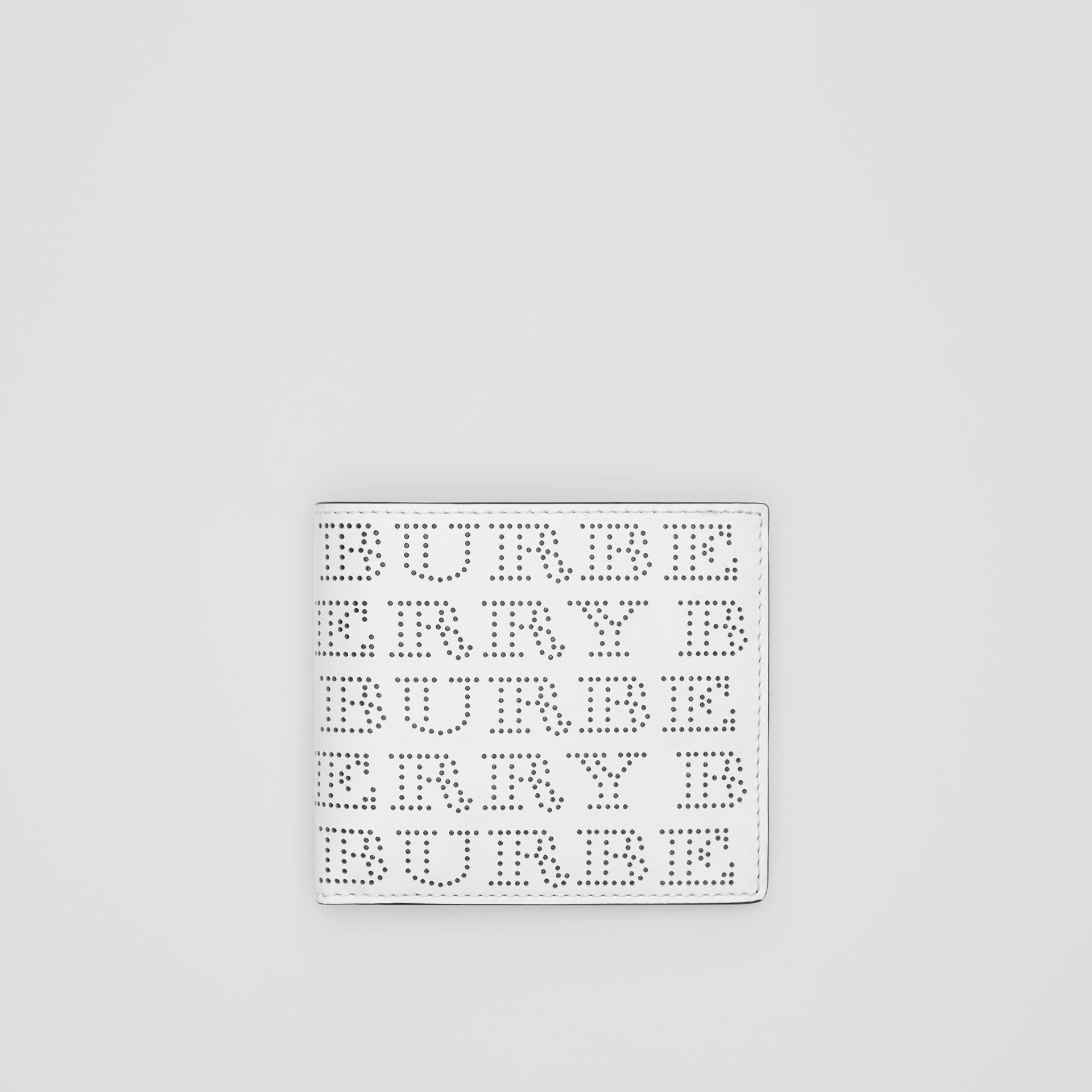 Perforated Logo Leather International Bifold Wallet in Optic White - Men | Burberry Australia - gallery image 0