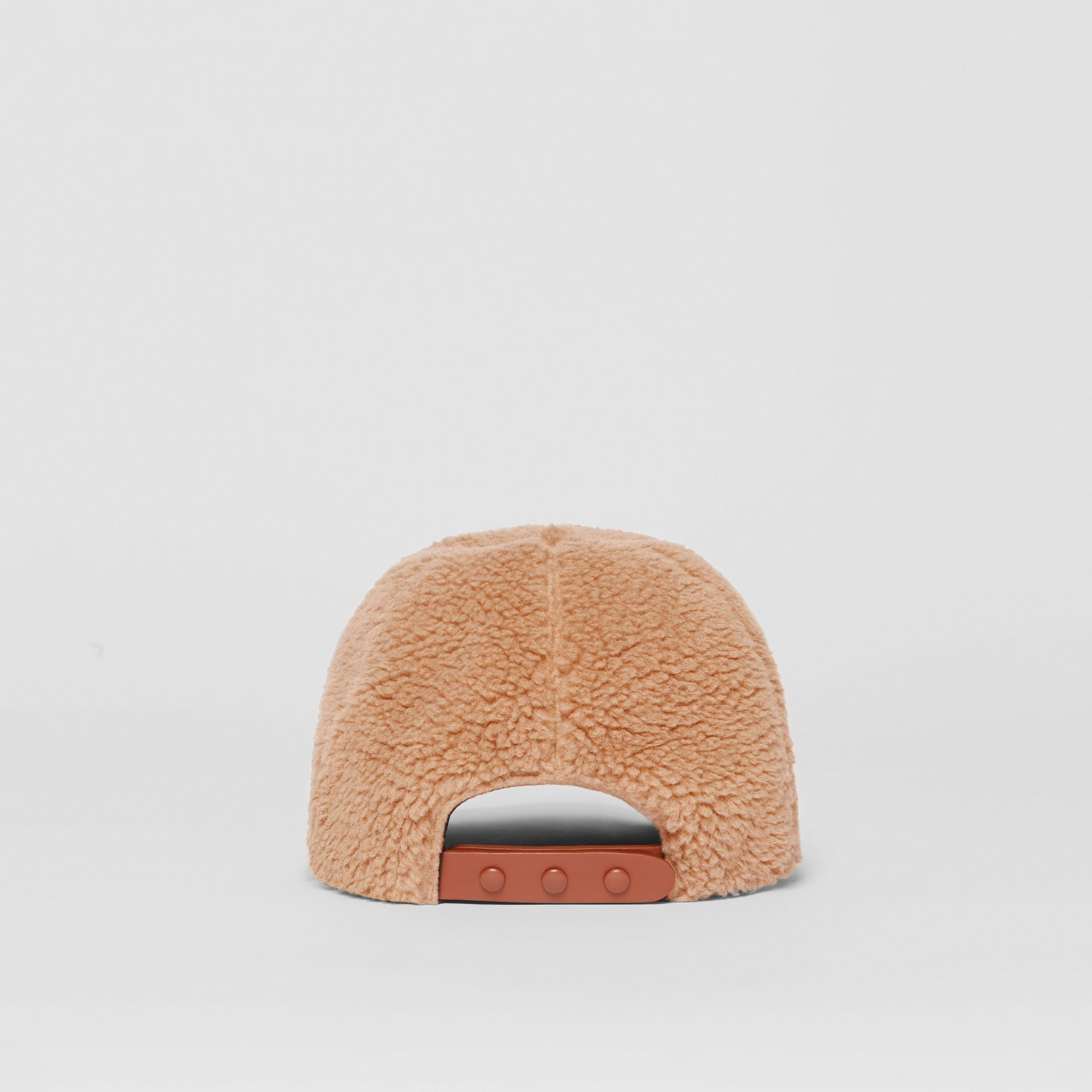 Logo Detail Faux Fur Baseball Cap in Camel | Burberry United Kingdom - gallery image 5