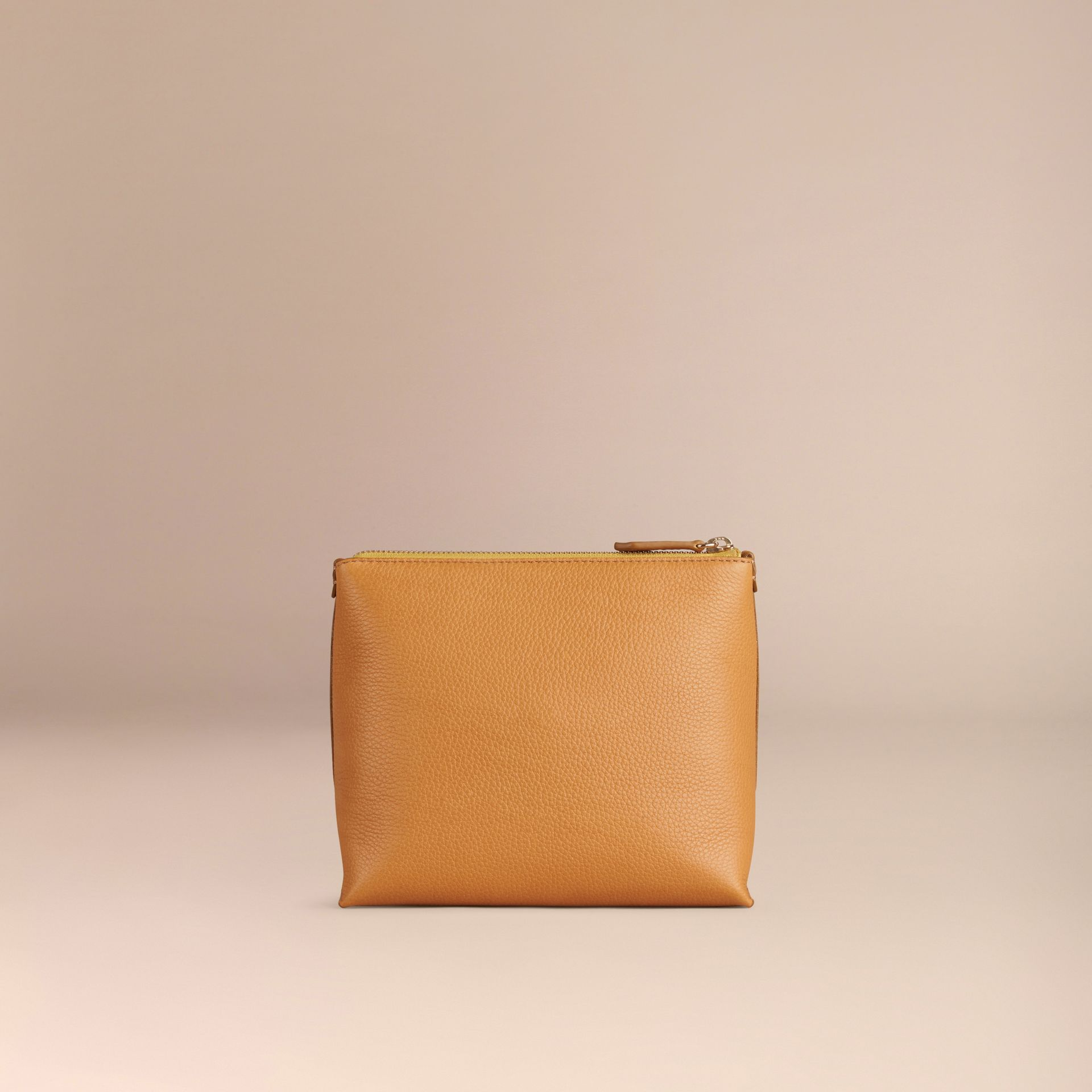 Ochre yellow Grainy Leather Zipped  Pouch Ochre Yellow - gallery image 4